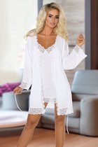 Ночной комплект Jane: пеньюар и сорочка с кружевами, цвет белый, L-XL - Beauty Night
