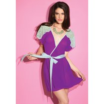 Струящийся халатик с атласным пояском, цвет фиолетовый, размер S-L - Coquette Internatonal