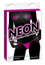 Трусики с вырезом с вибропулей и пэстисы Neon Pink - Pipedream