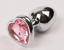 Анальная пробка Heart Silver 2.8 с кристаллом, цвет розовый - Luxurious Tail