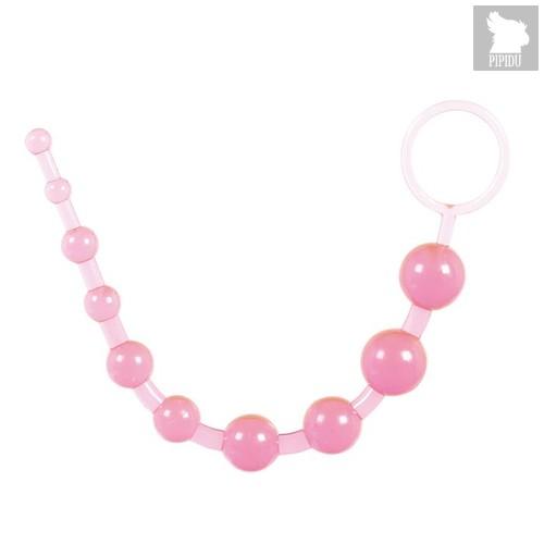 Розовая анальная цепочка из 10 шариков - 25 см., цвет розовый - Toyfa