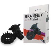 Чёрное эрекционное виброкольцо Sweet Ring с дельфинчиком, цвет черный - Baile