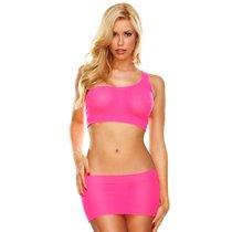 Костюм из короткого топа и облегающей юбочки, цвет розовый, размер S-L - Hustler Lingerie