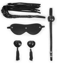 Эротический набор в черном цвете: маска, кляп, пэстисы, плётка, цвет черный - Bioritm
