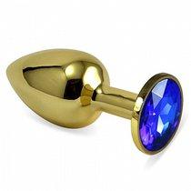 Анальная пробка Metal Gold 2,8 с кристаллом, цвет золотой - Luxurious Tail