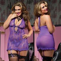 Сорочка Jamie с завязками на груди, с трусиками, цвет сиреневый, XL-3XL - Seven`til Midnight