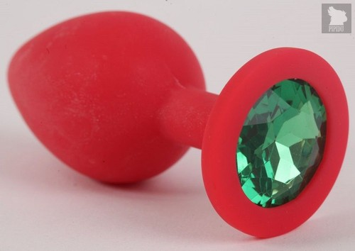 Красная силиконовая анальная пробка с зеленым стразом - 9,2 см., цвет зеленый - Vandersex