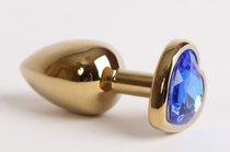 Анальная пробка золото 8х3,5см с сердечком синий страз 47190-1-MM - Eroticon
