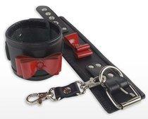 Черные наручники с красными лаковыми бантами, цвет красный/черный - Sitabella