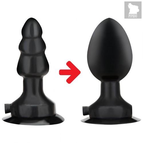 Черная надувная вибропробка на присоске - 10 см., цвет черный - Lux Fetish