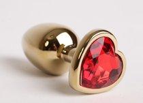 Анальная пробка золото 7,5 х 2,8 см с сердечком красный страз размер-S 47189-MM - Eroticon