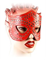 маска-очки с фурнитурой в виде заклепок, цвет красный - Подиум