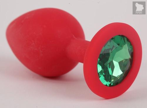 Пробка силиконовая красная с зеленым стразом 9,5х4см 47155-1-MM - Eroticon
