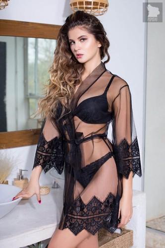 Прозрачный халатик Ruby с кружевным декором, цвет черный - Mia-Mia