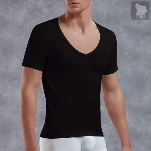 Мужская футболка с V-образным вырезом, цвет черный, S - Doreanse