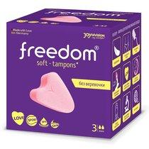 Женские гигиенические тампоны без веревочки FREEDOM mini - 3 шт., цвет розовый - Joy Division