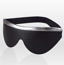 Черная кожаная маска на резинке с серебристой полосой, цвет серебряный/черный - Sitabella
