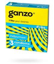 Презервативы Ganzo Ribs №12 ребристые, 3 шт. - Ganzo