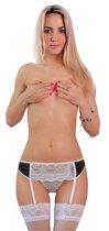Комплект из пояса с кружевной вставкой и трусиков-стринг, цвет белый/черный, M-L - FlirtON