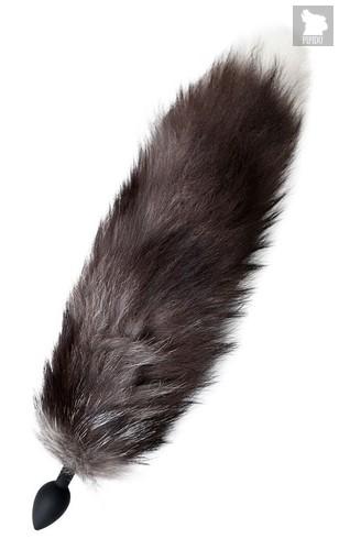 Черная анальная втулка с хвостом чернобурой лисы - размер М, цвет черный - Toyfa