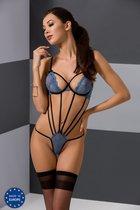 Соблазнительное боди с открытой спинкой Xante, цвет голубой/черный, 2XL-3XL - Passion
