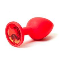 Анальная пробка Silicone Red 2.8 с кристаллом - Luxurious Tail