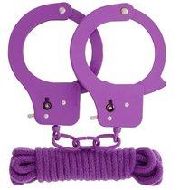 Фиолетовые наручники из листового металла в комплекте с веревкой BONDX METAL CUFFS LOVE ROPE SET, цвет фиолетовый - Dream toys