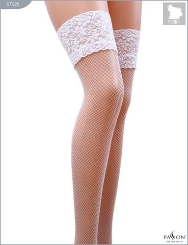 Чулки из мелкой сетки с кружевной резинкой, цвет белый, размер L-XL - Passion