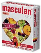 Жёлтые презервативы Masculan Ultra Tutti-Frutti с фруктовым ароматом - 3 шт., цвет желтый - Masculan
