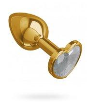 Золотистая анальная пробка с прозрачным кристаллом-сердцем - 7 см, цвет золотой/прозрачный - МиФ