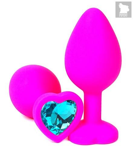 Розовая силиконовая пробка с голубым кристаллом-сердечком - 8 см., цвет голубой - Vandersex