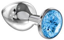 Большая серебристая анальная пробка Diamond Light blue Sparkle Large с голубым кристаллом - 8 см - Lola Toys