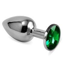Серебристая анальная пробка с зелёным кристаллом размера S - 7 см, цвет зеленый - Vandersex