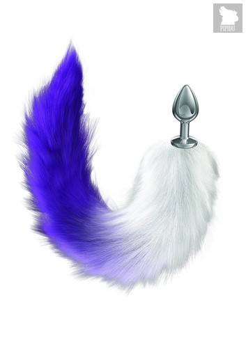 Серебристая анальная пробка с фиолетовым хвостом Galaxy, цвет фиолетовый - Lola Toys