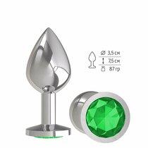 Анальная втулка Silver с зеленым кристаллом средняя, цвет серебряный - МиФ