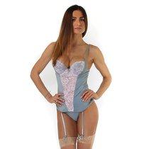 Комплект из бюстье с кружевной вставкой спереди и трусиков, цвет розовый/серый, размер L - Seven`til Midnight