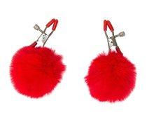 Зажимы на соски Angelic с красными меховыми шариками, цвет красный - Lola Toys