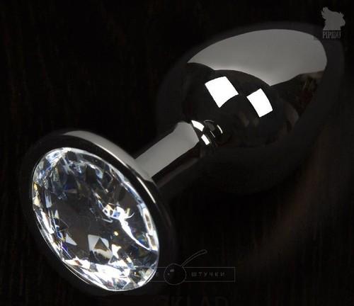 Графитовая анальная пробка с прозрачным кристаллом - 8,5 см., цвет прозрачный - Пикантные штучки
