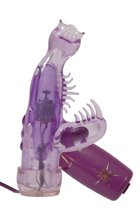 Фиолетовый мини-вибратор со стимулятором клитора - 13 см., цвет фиолетовый - Tonga