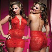 Роскошное мини-платье из кружева, с трусиками, цвет красный, XL-3XL - Seven`til Midnight