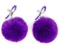 Зажимы для сосков с фиолетовым пушком, цвет фиолетовый - Bioritm