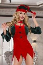 Костюм помощницы Санты: топ, юбка, стринги, галстук и головной убор, цвет красный, S-L - Candy girl