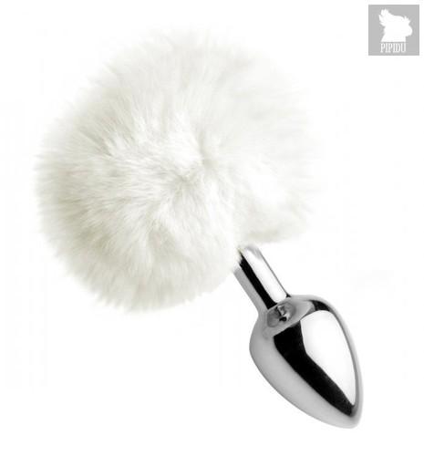 Металлическая анальная пробка с белым заячьим хвостиком White Fluffy Bunny Tail Anal Plug, цвет белый - XR Brands