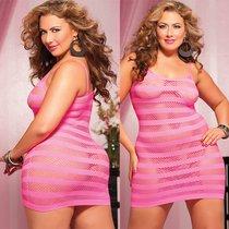 Платье увеличенного размера в полоску, цвет розовый, XL-2XL - Seven`til Midnight