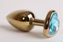 Анальная пробка золото 7,5 х 2,8 см с сердечком голубой страз размер-S 47194-MM - Eroticon