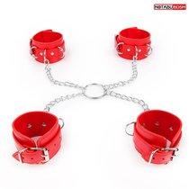 Комплект красных наручников и оков на металлических креплениях с кольцом, цвет красный - Bioritm