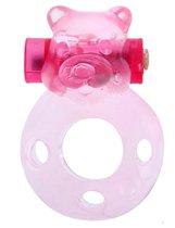 Розовое эрекционное кольцо «Медвежонок» с мини-вибратором, цвет прозрачный - Eroticon
