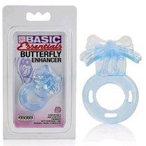 Эрекционное кольцо-бабочка Basic Essentials Butterfly Enhancer, цвет голубой - California Exotic Novelties