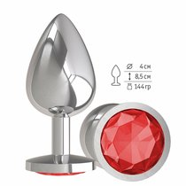 Анальная втулка Silver с красным кристаллом большая, цвет серебряный - МиФ