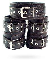 Набор коричневых фиксаторов: наручники с мехом, наножники и ошейник - БДСМ арсенал